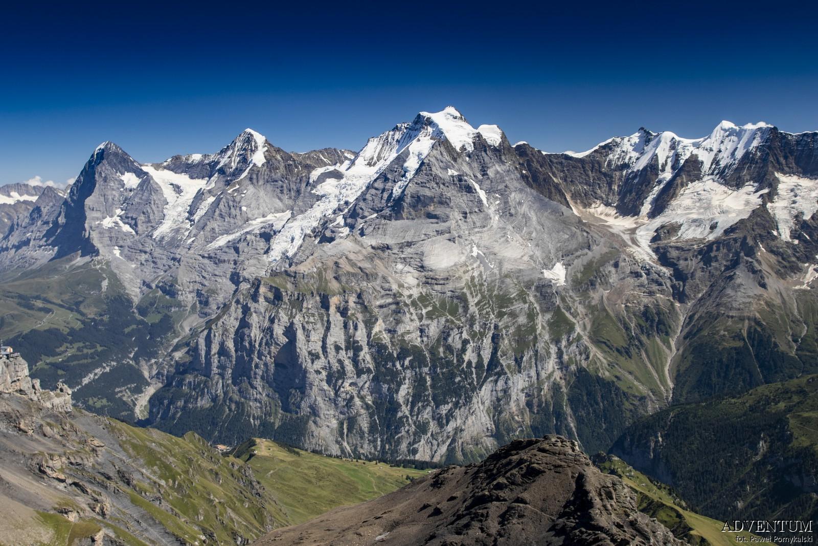 Schilthorn góry Szwajcaria Alpy Kolejka Linowa James Bond 007 Bilety Ceny parking Jungfrau Mönch Eiger