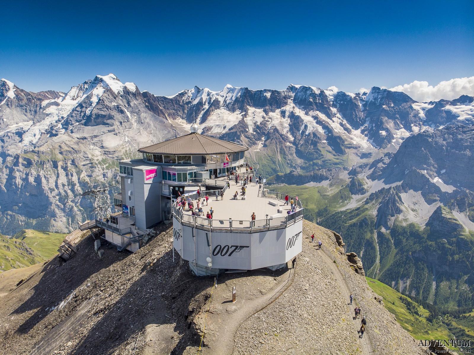 Schilthorn góry Szwajcaria Alpy Kolejka Linowa James Bond 007 Bilety Ceny parking piz Gloria