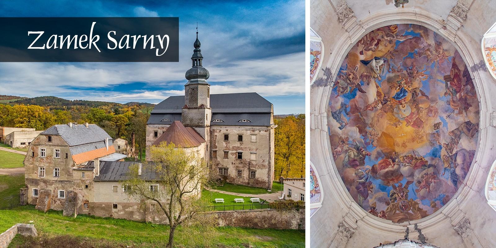 Zamek Sarny Dolny Śląsk Ścinawka Dolnośląskie Atrakcje Zwiedzanie Kotlina Kłodzka Kaplica Nepomucena Barok Kawiarnia
